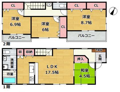 芦屋市西蔵町 新築一戸建間取画像